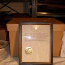 Image of 2001.9.97 - framed, achievement certificate; navy (a