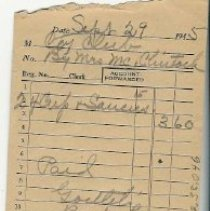 Image of receipt, Sept. 29, 1954