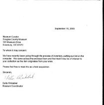 Image of letter from donor