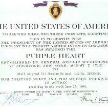 Image of Purple Heart certificate