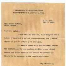 Image of Condolence letter
