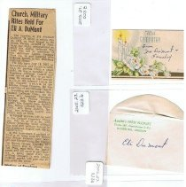 Image of obituary and flower cards