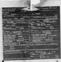 Image of 2008.25.41 Birth Certificate of Addie McBee