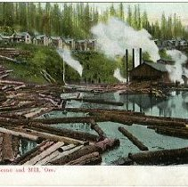 Image of Logging Sceene and Mill, Oregon
