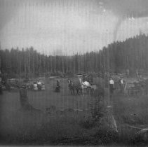 Image of Horse-drawn rigs and people in clearing, ca 1920