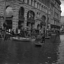 Image of GP4/5.196 - REMARKS:Unidentified scene of street and buildings in Portland, OR during the flood there. ca. 1894