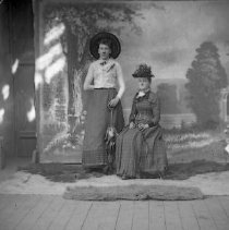 Image of GP4/5.625 - REMARKS:Studio portrait of two young women, one standing and one seated, before a studio backdrop. Both wear elaborate hats; one has a parasol and the other a walking stick.  OBJECT DATE:ca. 1890