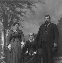 Image of GP5/7.11 - REMARKS:Man, woman with seated elderly woman wearing dark glasses (blind?) Studio portrait  OBJECT DATE:circa 1900