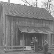 Image of GP5/7.375 - REMARKS:Three young men in front of the McCollough house. Board fence has smallpox quarantine sign. Glendale area, ca 1910.  OBJECT DATE:ca 1910