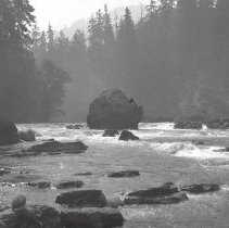 Image of GP5/7.45 - REMARKS:Fast moving river with rocky banks and large boulder in middle of river. North Umpqua River?  OBJECT DATE:ca 1900