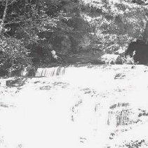 Image of GP5/7.62 - REMARKS:Waterfalls cascading about 12 feet down over rocks in a mountain stream. Douglas County?