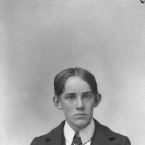 Image of GP5/7.739 - REMARKS:Studio portrait of a young man in preceding photo. Appears to wear a flag in the lapel of his vest. (See GP5/7.740).  OBJECT DATE:ca. 1890