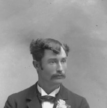 Image of GP5/7.741 - REMARKS:Studio portrait of a young man dressed in formal attire with flower in his lapel. Could be a wedding picture.  OBJECT DATE:ca. 1890