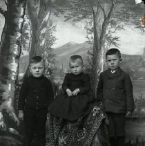 Image of GP5/7.942 - REMARKS:Studio portrait of three young boys: two older boys in knee-length pants; baby in dress. All wear high topped shoes.  OBJECT DATE:ca. 1890