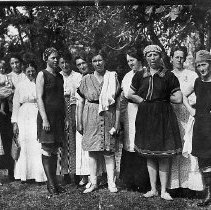 Image of N10339 - REMARKS:A swimming party at the South Umpqua River near the Fairgrounds on August 22, 1917. The group includes Mesdames Lewis; Stephenson; Palm; Patrick; Worthington; Bowers; Roadman; Snyder; and Rhoades.  OBJECT DATE:August 22, 1917
