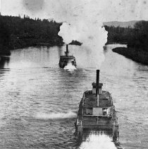 Image of N10363 - REMARKS:Sternwheelers WILLIAM HOAG and THREE SISTERS racing on the Willamette River between Albany and Corvallis.