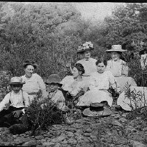 Image of N10402 - REMARKS:A Sylmon Valley School group. First three (left to right): Ernest Myers; Mary Cloake; Ken Cloake. The others are unidentified.