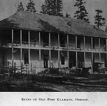 Image of N10530 - REMARKS:View of 2-story wooden building with galleries on both floors; the remains of old Fort Klamath.