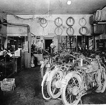 Image of N11178 - REMARKS:Glen Cox and Ben Hixon's Motorcycle Shop; they had a partnership, 1920.