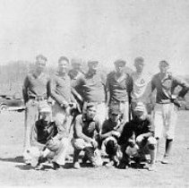 Image of N11564 - REMARKS:Elkton town baseball team, ca. 1925, Elkton, Or. Back row left to right: 3 unident.; Jack Traylor; Del Cooper; Lloyd Hudson; Floyd Finley. Front: Unident.; Lenord Hudson; Glen Forest; Unident.