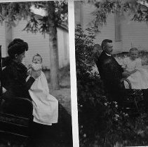 Image of N11910 - REMARKS:Two similar photos, one of Emma Louise Fisher Weber holding daughter Josie and one of Morris Weber holding daughter Emily. both views taken in rocking chair outdoors.