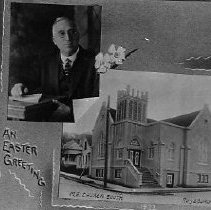 Image of N11966 - REMARKS:Rev. Needham and the Methodist Church South in Roseburg, 1922. An Easter Greeting Postcard view.