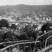 Image of N12140 - REMARKS:Roseburg, Oregon, looking east, taken from Mt. Nebo with Lane St. bridge in the forground, ca. 1912. Postcard view.  OBJECT DATE:ca. 1912