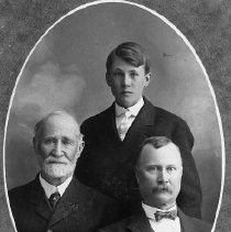 Image of N12225 - REMARKS:Three generations of Hamilton men (left to right): Dr. Salathiel Hamilton; Seth Hamilton (son of J.W. Hamilton); Judge J.W. Hamilton (oldest son of Dr. Hamilton), ca. 1902.