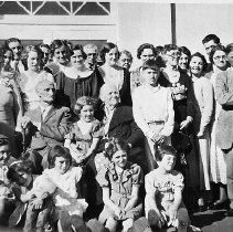Image of N12558 - REMARKS:William Elmer and Cynthia Russell's 50th wedding anniversary, May 1935 at Wilbur school, pictured with family group.  OBJECT DATE:May 1935
