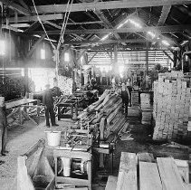 Image of N12687 - REMARKS:Glendale Box Factory, interior view. It was located across the road from Mikels Store next to the creek. Glendale, Or. 1910.