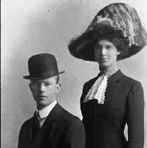 Image of N12693 - REMARKS:Howard Lystul and woman, probably his wife. Glendale, Or., residents in early 1900s.