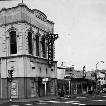 Image of N12712 - REMARKS:Jackson Street looking north soon after the 1959 blast in Roseburg, Or. View shows the Star Theatre which was located in the Marks Building.