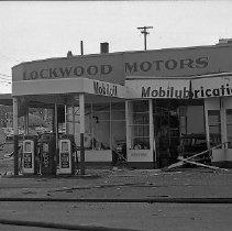 Image of N12978 - REMARKS:Lockwood Motors, Mobiloil service station, Oak Street and rose Street. Orig. Neg. 3 1/4 x 2 1/4.
