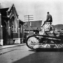 Image of N1315 - REMARKS:World War I tank at corner of Jackson and Lane Streets, Roseburg. ca. 1919  OBJECT DATE:ca. 1919