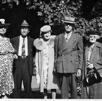 Image of N13503 - REMARKS:Rice family group (both men are sons of Ica F. and Louisa Etta (Canaday) Rice; and grandsons of Henry and Drucilla (Hussey) Canaday.) Left to right: Jennie Rice; Fred Rice; Sue Rice; Sylvester Rice; Laura Rice Castor. The photo was taken ca. 1940s.  OBJECT DATE:ca. 1940s