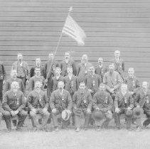 Image of N1378 - A.O.U.W.(Ancient Order of United Workmen) Lodge group; Gardiner, Oregon, ca. 1890.