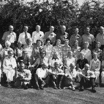 Image of N13832 - REMARKS:The Roseburg High School Class of 1925 Reunion, May 31, 1975. FRONT (left to right): John Lander; Franklin Rose; Clifford Hess; Paul Geddes; Orval Agee. SECOND ROW: Leonora Godfrey Housley; Lois Byrd Levy; Marian Coffell Grone; Dorothy Cordon McCollum; Hall Seely; Helen Falbe; Mildred Lohr Drogel; Mary Hodges Cronk; Anita Chachelin Boyer. THIRD ROW: James Wamsley; Margaret Millikin Parrott; Alice McDaniel Lloyd; Ada Henbest Fogleman; Evelyn Hawn Fredrickson; Helen Pearce Carrico; Leonore Helliwell Cooper; Carol Doyle Henderson; Neta Wells Cullen; Lucille Sharpe Ritter; Vesta Beckley Clyde; Bertha Kohlhagen Gregg. FOURTH ROW: Ralph Church; Melvin Hull; Lynn Beckley; Sid Nichols; Bernard Young; Murray Collins; Ray Jost; Guy Perrin.  OBJECT DATE:May 31, 1975