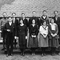 Image of N13996 - REMARKS:Myrtle Creek, Or. high school students, ca. 1920. Eleven pupils and one teacher.
