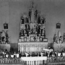 Image of N14271 - REMARKS:Interior view of St. Joseph's Catholic Church, Roseburg, OR, Nov. 22, 1898. it is decorated for the wedding of Ada Byron Tompkins.  OBJECT DATE:Nov. 22, 1898