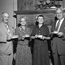 Image of N14404 - REMARKS:St. George's Episcopal Church, Roseburg, OR. ID L toR: General John Pierce; Mrs. John (Clara) Pierce; Mrs. Curtis (Juanita) Beecher; General Curtis Beecher. September 2, 1955.