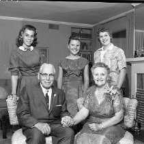 Image of N14414 - REMARKS:Unrath Fiftieth Wedding Anniversary/family reunion; ID, L to R: Sabra Unrath Wood; Ernst Unrath; Kristin Hoyt Carrico; Marie Wettstien Unrath; Mary Elise Unrath Diedrich; September, 1959
