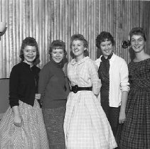 Image of N14782 - REMARKS:Five young RHS women. Oct. 1959.  L to R: Rose Travis, Melinda McCrorey, Sandra Ramsdell, Melissa Hill & Sherrill Chapman.