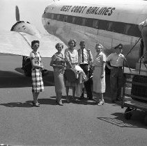 Image of West Coast Airlines plane @ Roseburg ca. 1950