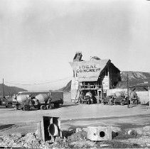 Image of N15257 - REMARKS:Ideal Concrete building with several mixer trucks and landview. Lookingglass Road, Melrose, OR, ca. 1950's