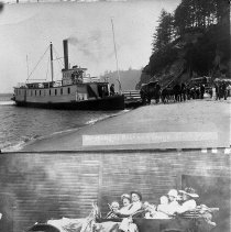 "Image of N1584 - REMARKS:1 - Steamboat EVA at Winchester Bay. 2- ""Dad"" Haines (Edward E.) and Auto stage."