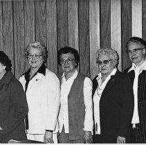 Image of N16073 - REMARKS:Oregon Federation of Women's Clubs, District II, Eugene, OR, April 19, 1980. Roseburg Women's Club delegates: (LtoR); Mrs Milton (Margaret) Clay; Mrs. Clarson (Becky Chitwood; Mrs. J.M. (Elsie) Boyles; Mrs. Ward (Nelle) Cummings; Mrs. Frank (Rose) Ashley, past Pres., was visitor.  OBJECT DATE:April 19, 1980
