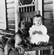 Image of N16754 - REMARKS:Maxine Stearns and her dog, Yoncalla, OR, 1913.
