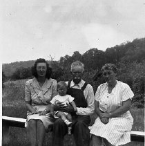 Image of N16814 - REMARKS:Henry family reunion, 1947, at Calapooia. I.D. LtoR: Dorothy Joan Haines Day; Calvin Scott Henry I, holding Robert L. Day; Hazel Vivian Henry Haines. Four generations