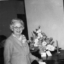 Image of N17046 - REMARKS:Hazel Marsh on her 80th birthday at the Methodist Church in Roseburg, Oregon, ca 1970?