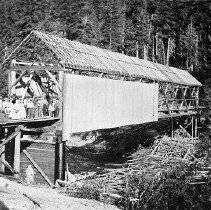 Image of N2430 - REMARKS:Pickett collection; First covered bridge across the South Umpqua at Tiller, Oregon. Washed out by high water in the first winter after it was built (rebuilt?). 1889-1890?